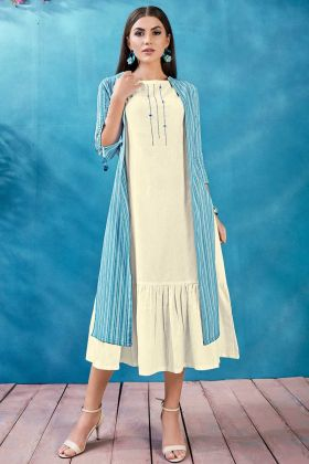 Cotton Jacket Style Kurti White Color With Thread Work
