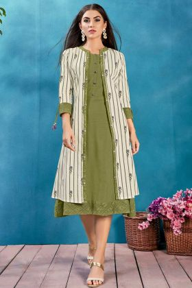 Cotton Jacket Style Printed Kurti In Olive Green Color