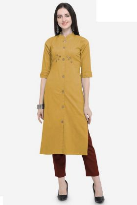 Cotton Long Kurti Buttons Work In Mustard Yellow Color