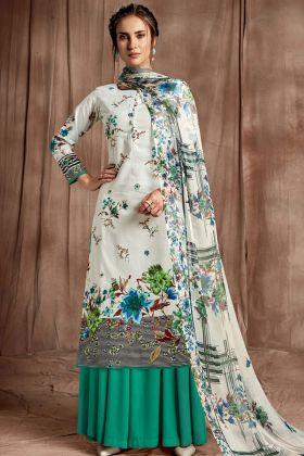 Cotton Off White Digital Printed Sharara Suit
