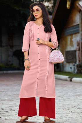 Cotton Palazzo Pink Fancy Kurti Design