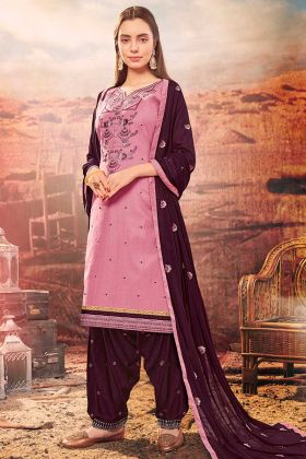 Cotton Patiala Salwar Kameez Thread Embroidery Work In Pink Color
