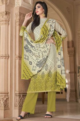 Cotton Pear Green And Off White Printed Casual Salwar Suit