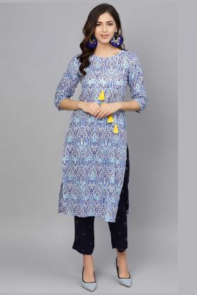Cotton Pretty Readymade Kurti And Pant In NavyBlue