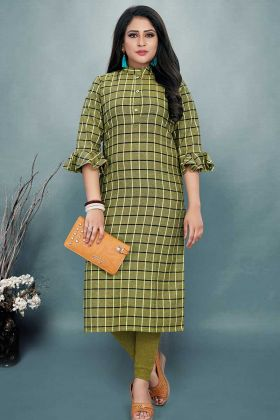 Cotton Printed Kurti In Green Color