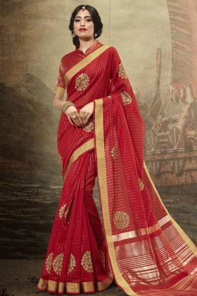Cotton Red Festive Saree