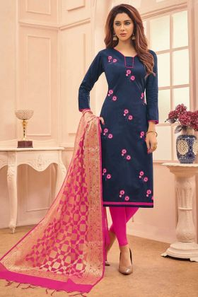 Cotton Salwar Suit Navy Blue Color Thread Embroidery Work With Banarasi Silk Fabric Dupatta