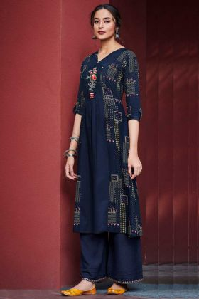 Cotton Satin Pakistani Kurti Navy Blue Color With Printed Work