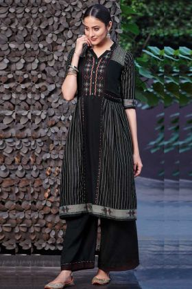 Cotton Satin Palazzo Kurti Set In Black Color