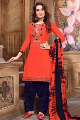 Cotton Satin Patiala Salwar Kameez Orange Color With Resham Embroidery Work
