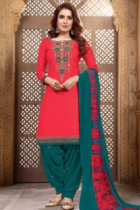Cotton Satin Patiala Salwar Suit In Red Color