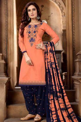Cotton Satin Punjabi Dress Dark Peach Color With Sequence Work