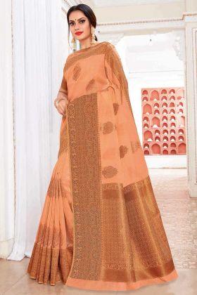 Cotton Silk Orange Saree With Weaving Work