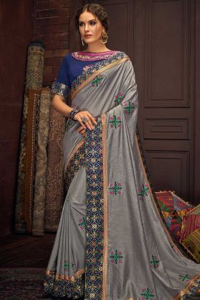 Cotton Silk Party Wear Saree Thread Embroidery Work In Grey Color