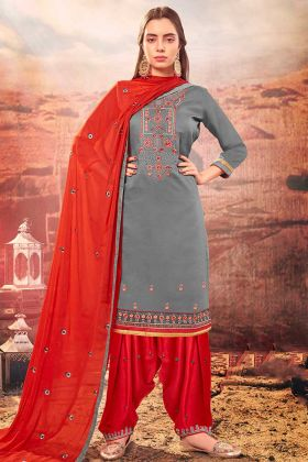 Cotton Silk Patiala Dress Zari Embroidery Work In Grey Color