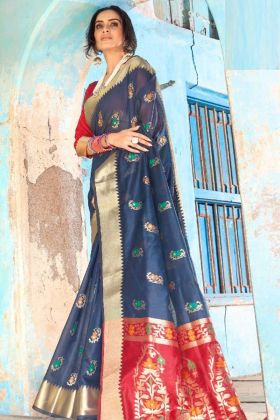 Cotton Silk Saree Navy Blue Color With Weaving Work