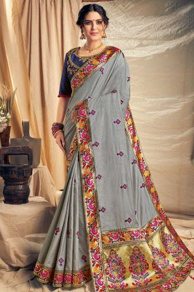 Cotton Silk Wedding Saree Grey Color With Thread Embroidery Work