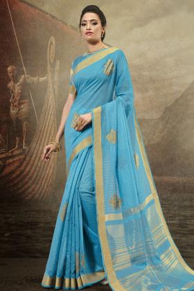 Cotton Sky Blue Festive Saree