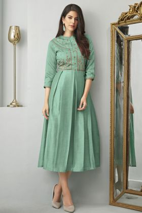 Cotton Slub Aqua Green Fancy Kurtis