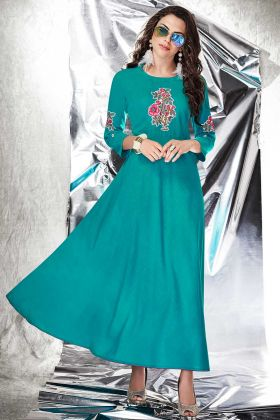 Cotton Slub Blue Color Anarkali Gown