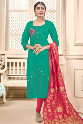 Cotton Slub Churidar Dress Thread Embroidery Work In Sea Green Color