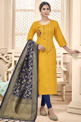 Cotton Slub Churidar Salwar Suit Thread Embroidery Work In Yellow Color