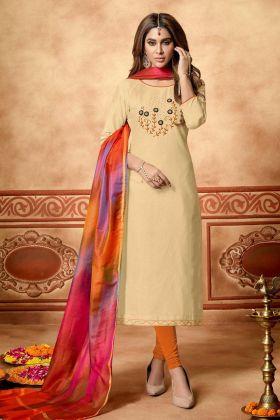 Cotton Slub Cream Staight salwar Suit