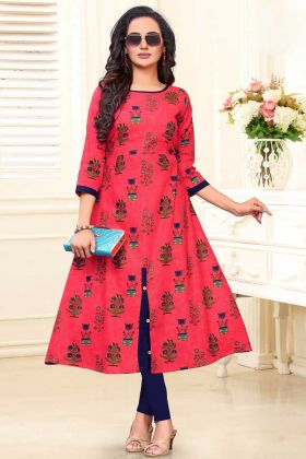 Cotton Slub Designer Kurti In Pink Color