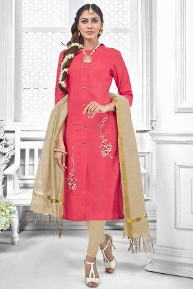 Cotton Slub Designer Salwar Suit Thread Embroidery Work In Old Rose Pink Color