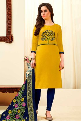 Cotton Slub Dress Material Yellow Color With Thread Embroidery Work