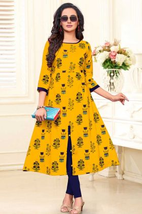 Cotton Slub Kurti In Golden Yellow Color