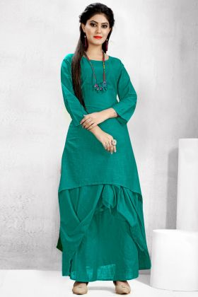 Cotton Slub Sea Green Dhoti Kurti