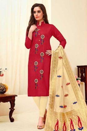 Cotton Slub Straight Salwar Kameez Maroon Color With Thread Embroidery Work