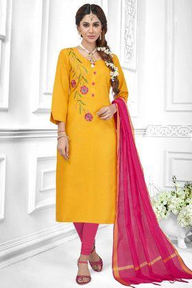 Cotton Slub Straight Salwar Suit Thread Embroidery Work In Mustard Yellow Color