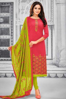 Cotton Straight Dress Resham Embroidery Work In Dark Pink Color