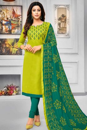 Cotton Straight Salwar Kameez Resham Embroidery Work In Parrot Green Color