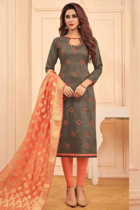 Cotton Straight Salwar Kameez Thread Embroidery Work In Dark Grey Color