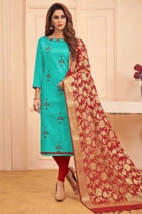 Cotton Straight Salwar Kameez Thread Embroidery Work In Turquoise Blue Color