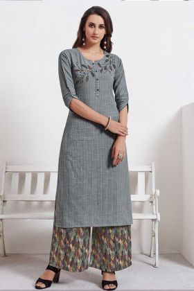 Cotton Weaving Designer Kurti With Heavy Look In Grey Color