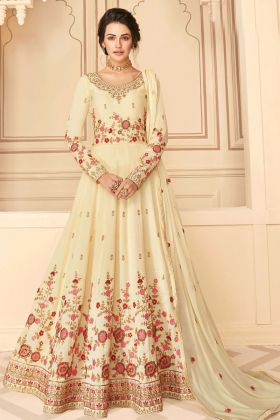 Cream Color Admirable Anarkali Style Wedding Pure Silk Dress