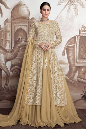 Cream Color Anarkali Dress Designs Heavy Faux Georgette And Heavy Butterfly Net