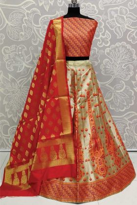 Cream Color Art Silk Lehenga With Orange Blouse Design