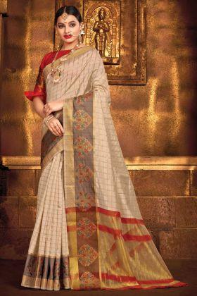 Cream Color Art Silk Party Wear Saree