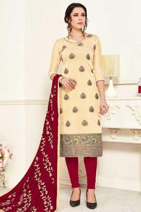 Cream Color Banarasi Silk Churidar UnStitched Suits