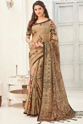 Cream Color Beautiful And Unique Designing  Silk Saree