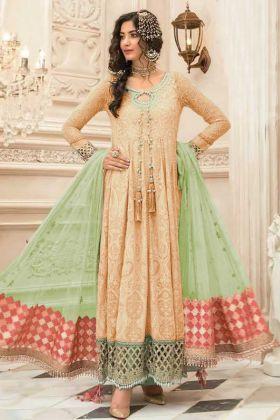 Cream Color Faux Georgette Pakistani Style Suit