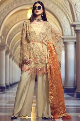 Cream Color Foux Georgette Pakistani Style Heavy Party Wear Salwar Suit