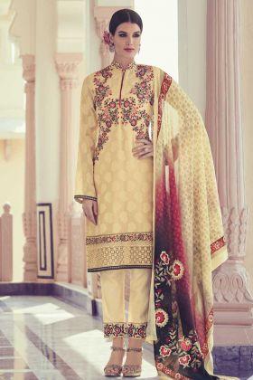 Cream Color Georgette Jacquard Salwar Suit