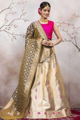 Cream Color Jacqaurd Silk Lehenga Blouse Design