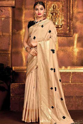 Cream Color Party Wear Sana Silk Saree